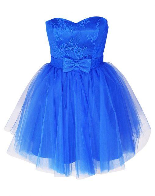 Gorsetowa sukienka z kokardką niebieska