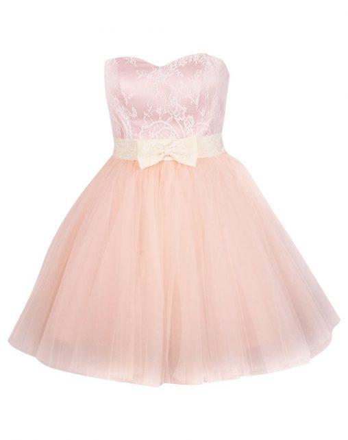 Gorsetowa sukienka z kokardką różowa