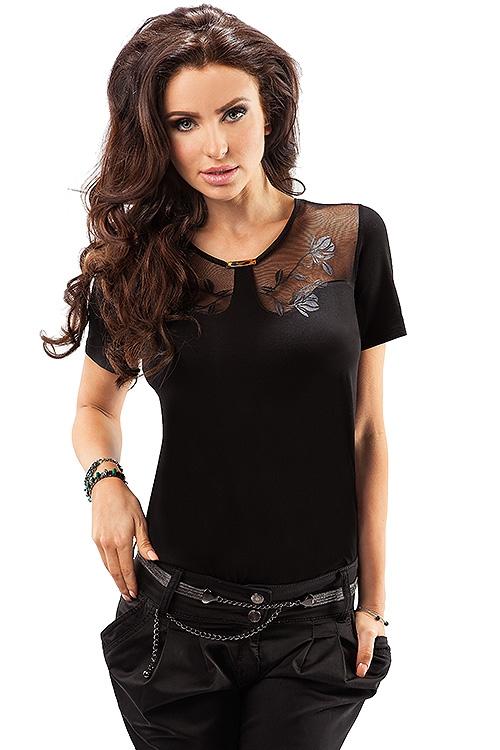 Elegancka czarna bluzka z siateczką