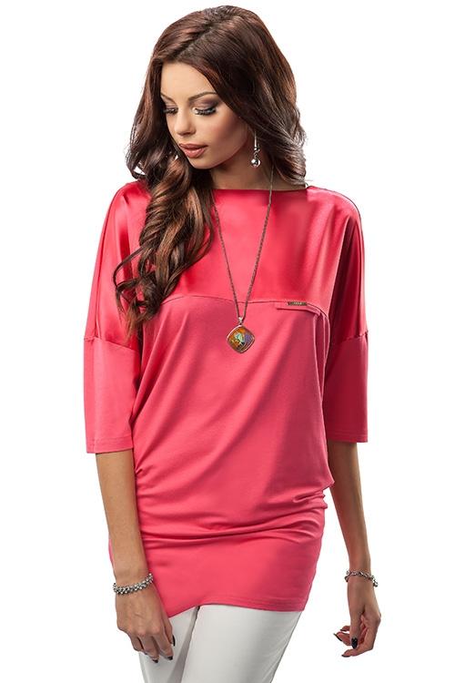 Satynowa luźna długa bluzka damska, różowa