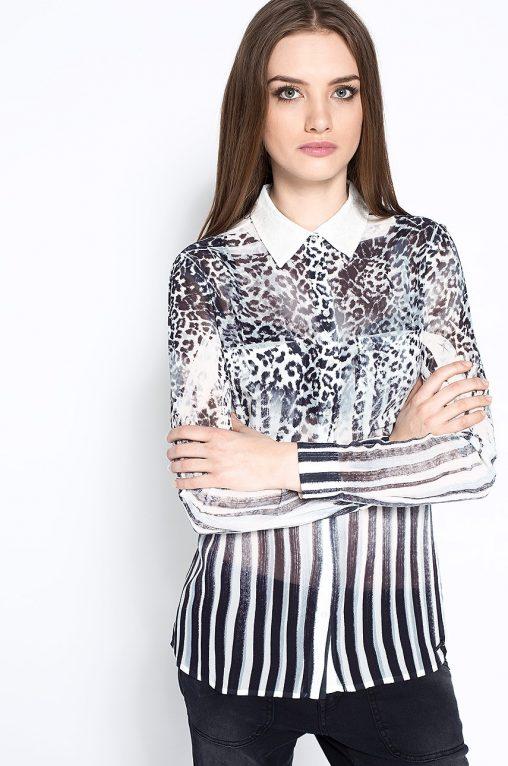 Elegancka Bluzka koszula w cętki leoparda