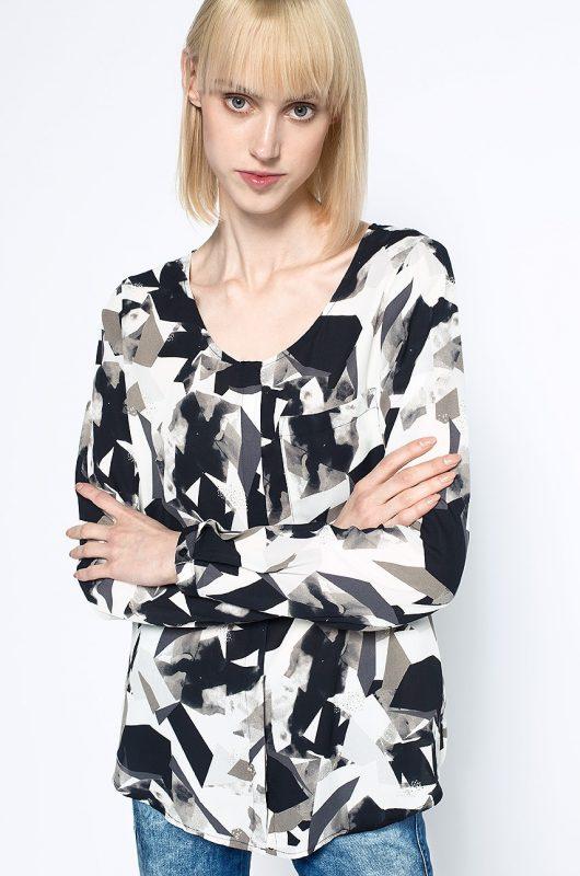 Wzorzysta bluzka koszula z kieszonką