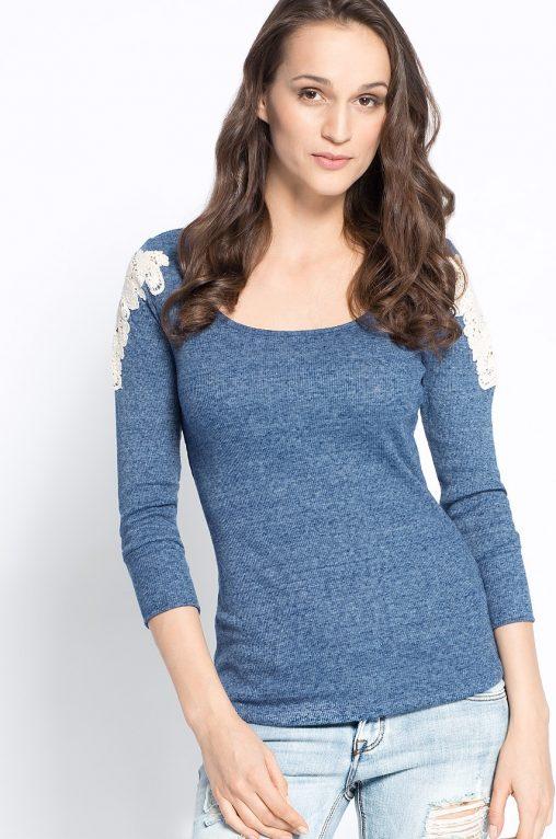 Gładka bluzka damska z haftem, niebieska