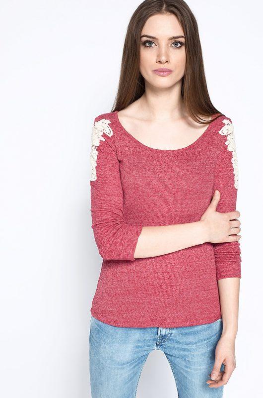 Gładka bluzka damska z haftem, czerwona
