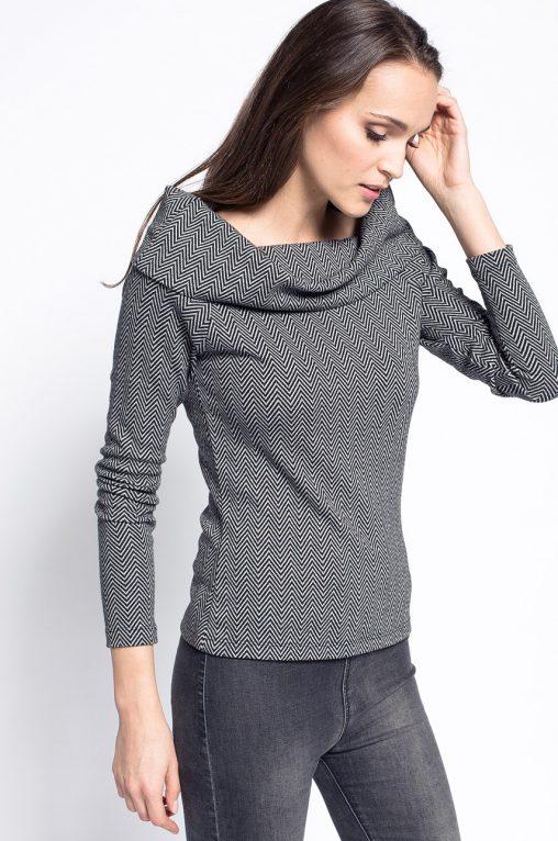 Wzorzysta bawełniana bluzka wywijany golf