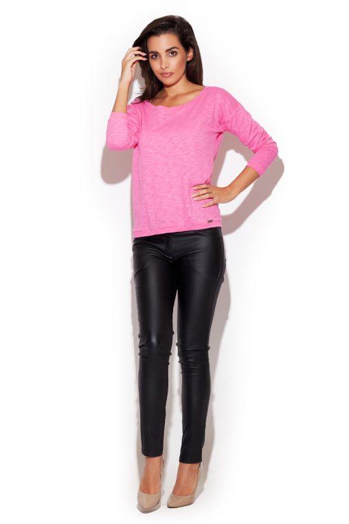 Dopasowane skórzane spodnie rurki metaliczne czarne