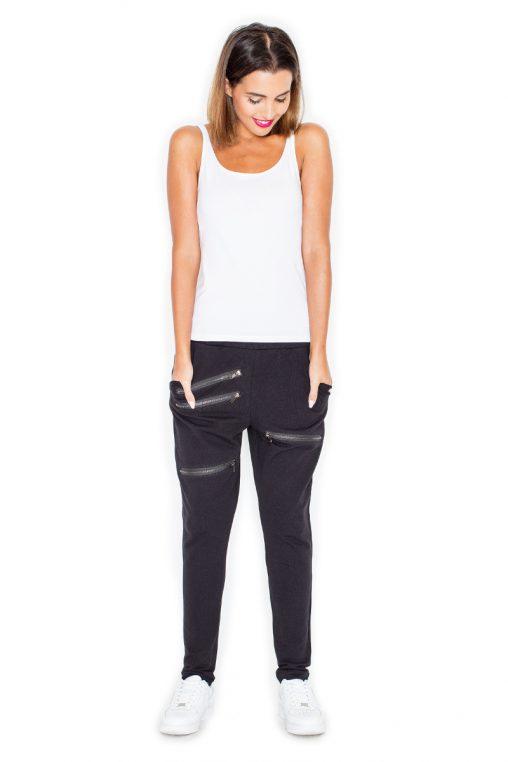 Materiałowe spodnie z zamkami na nogawkach czarne