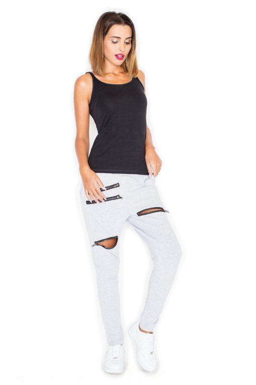 Materiałowe spodnie z zamkami na nogawkach szare