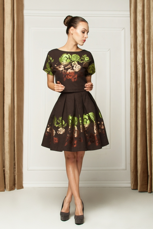 Sukienka dwuczęściowa z żakardu czarna