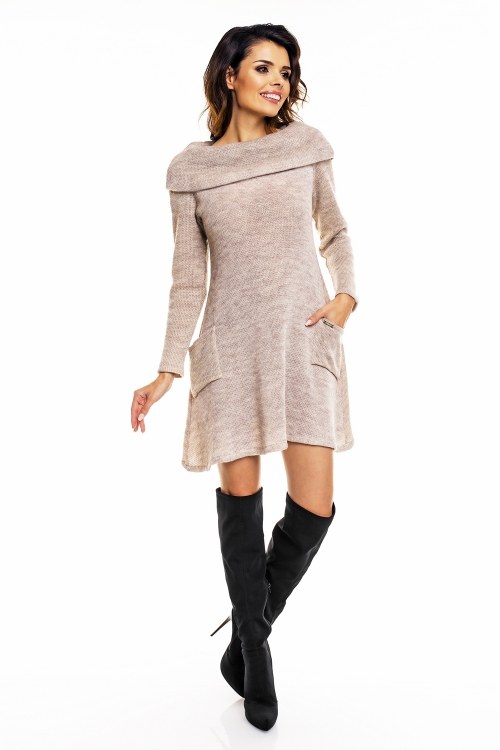 Sweterkowa sukienka dzianinowa beżowa