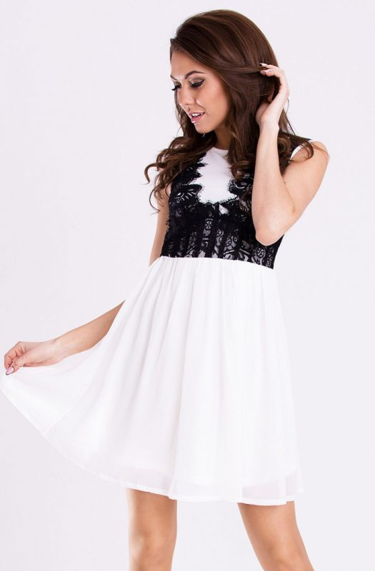 Zwiewna sukienka na wesele z szyfonu biała