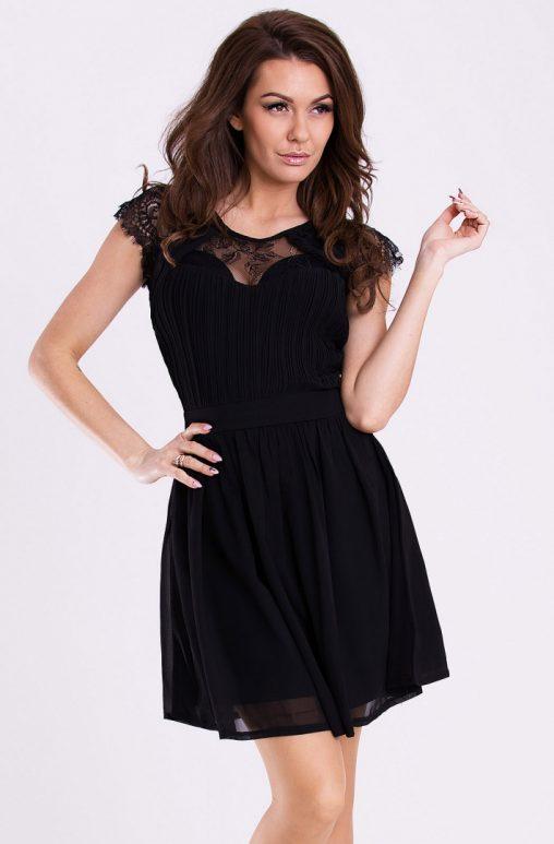 Zwiewna sukienka na wesele z szyfonu czarna