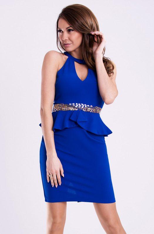 Obcisła sukienka mini z baskinką niebieska