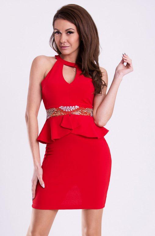 Obcisła sukienka mini z baskinką czerwona