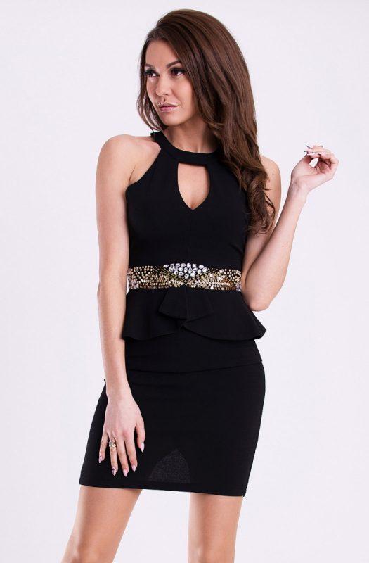Obcisła sukienka mini z baskinką czarna