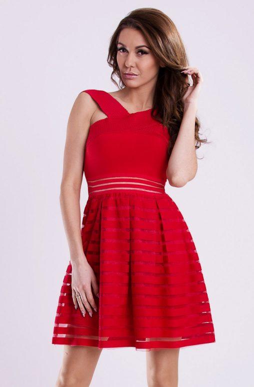 Letnia sukienka mini wizytowa czerwona