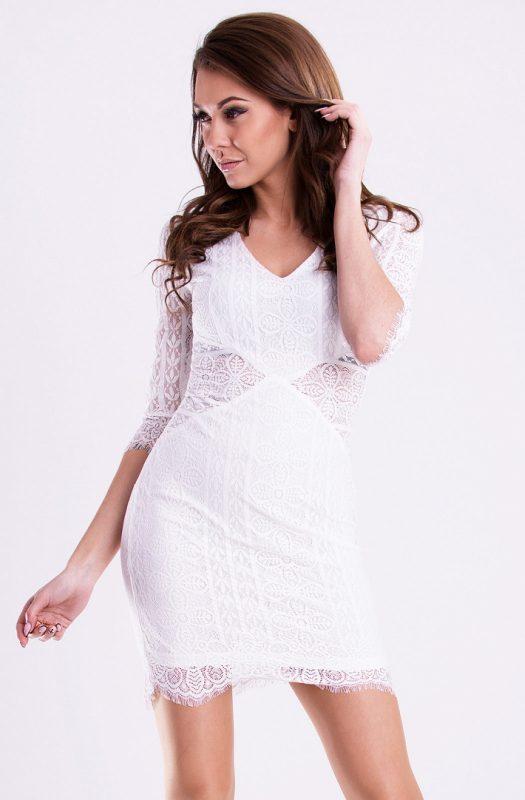 Koronkowa sukienka mini na imprezę biała