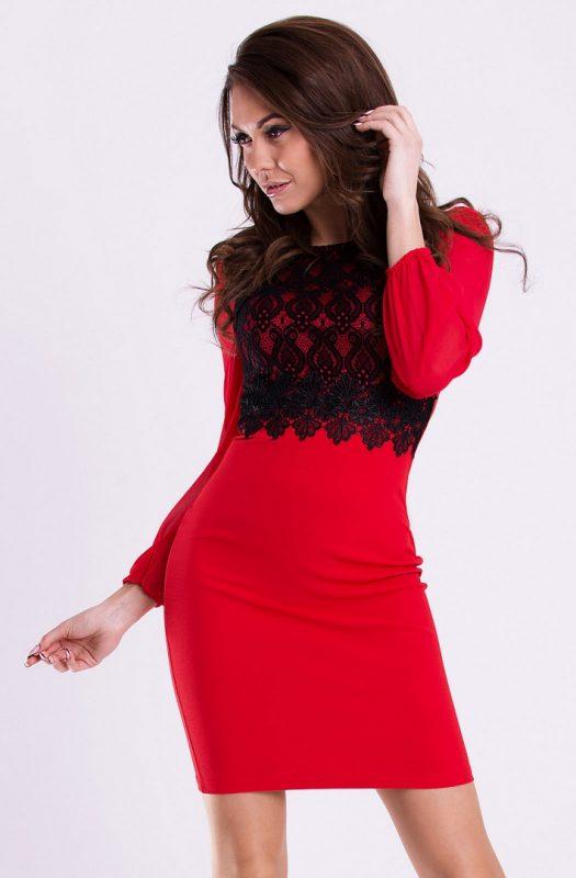Wizytowa sukienka bufiaste rękawy czerwona