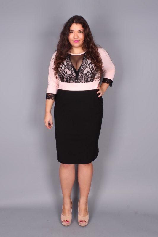 Elegancka ołówkowa sukienka plus size różowa