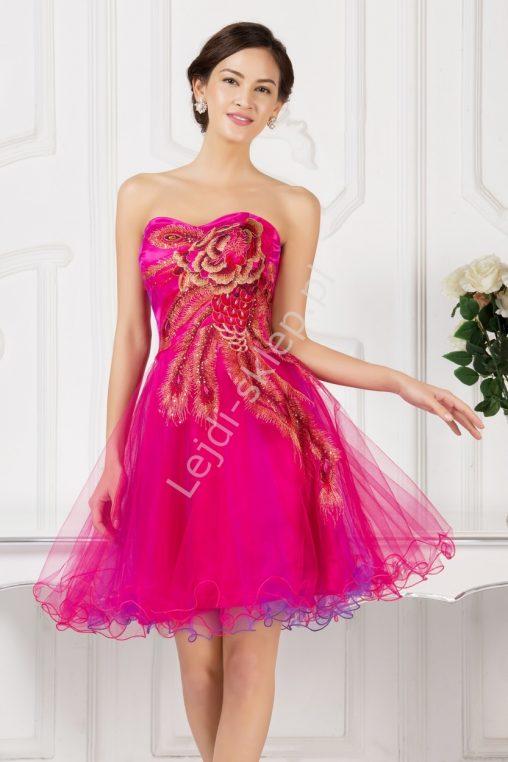 Balowa sukienka z organzy na wesele różowa