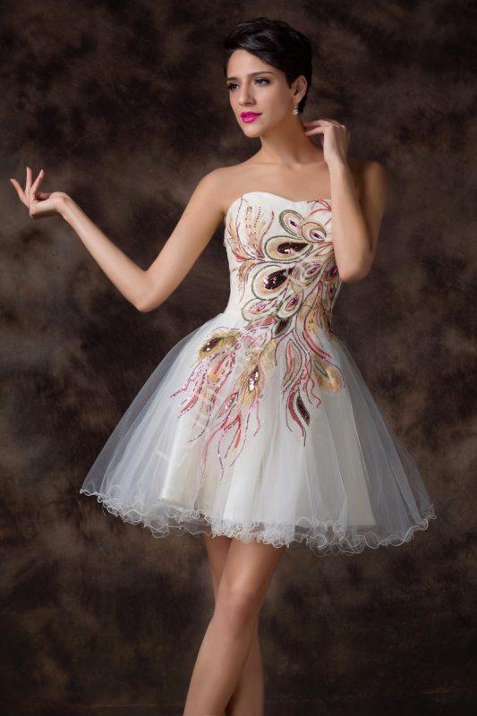 Balowa sukienka tiulowa na wesele pawie pióra