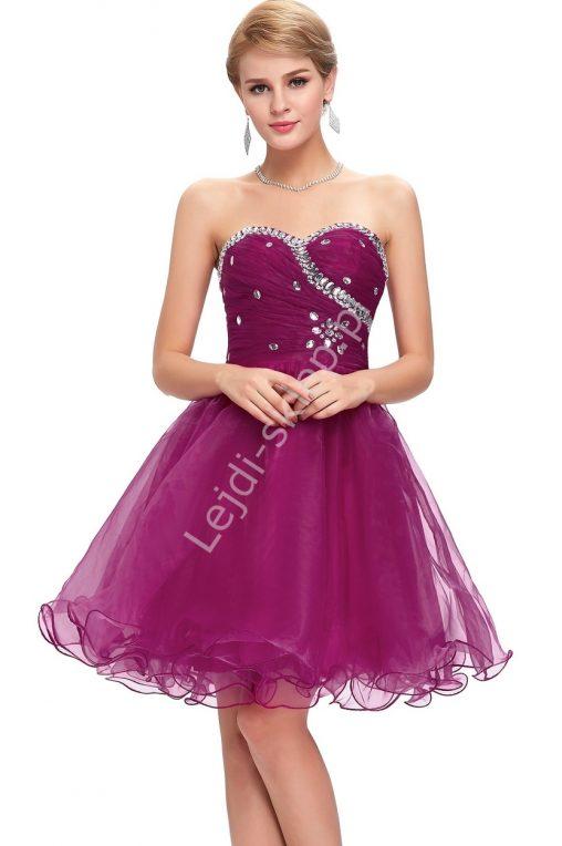 Gorsetowa sukienka balowa z kryształkami fuksja