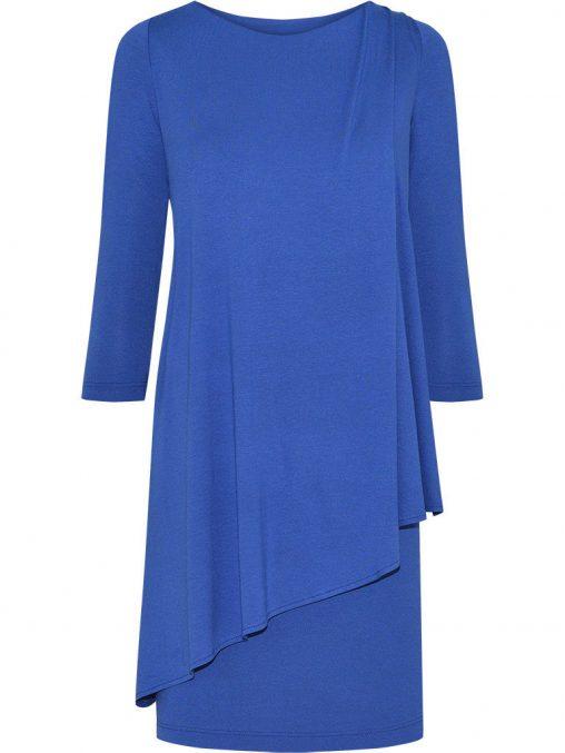 Elegancka tunika maskująca brzuch niebieska