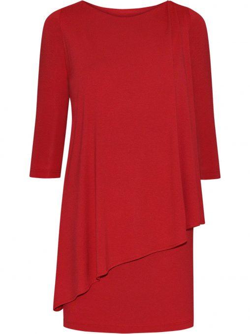 Elegancka tunika maskująca brzuch czerwona