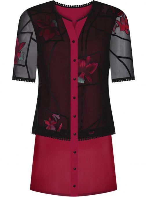 Elegancka bluzka tunika w kwiaty czerwona