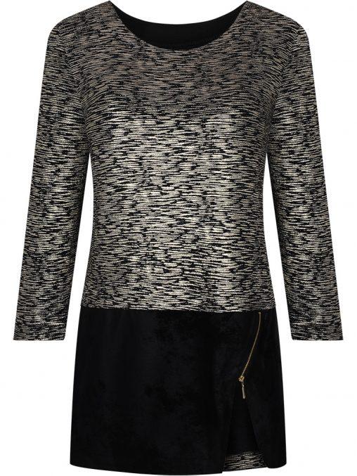 Elegancka tunika na imprezę złoto czarna