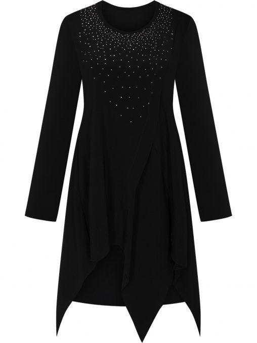 Asymetryczna czarna tunika wieczorowa długi rękaw