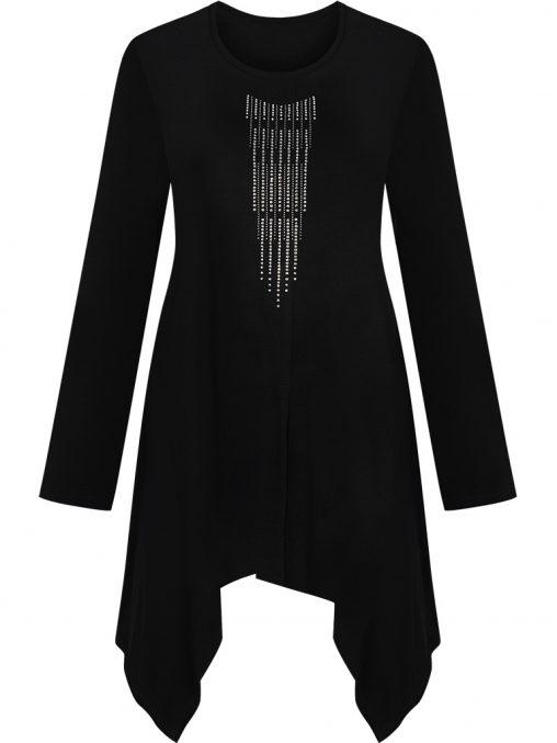 Asymetryczna bluzka tunika wieczorowa długi rękaw