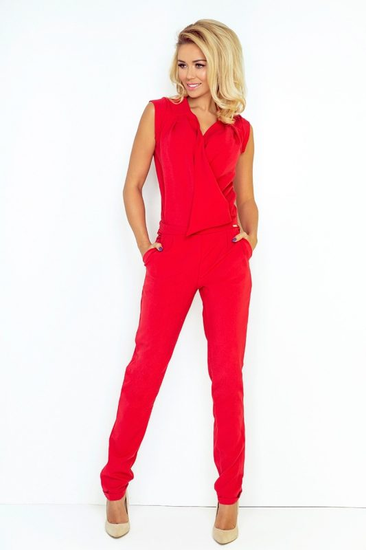 Elegancki kombinezon damski czerwony