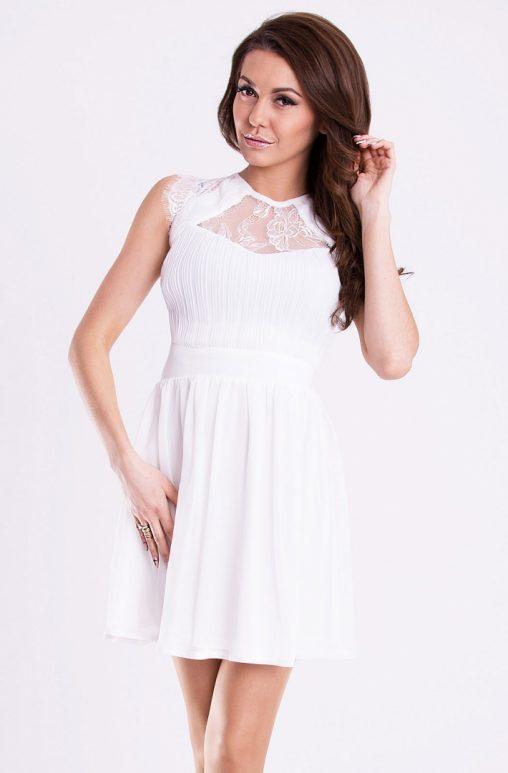Wizytowa sukienka rozkloszowana biała