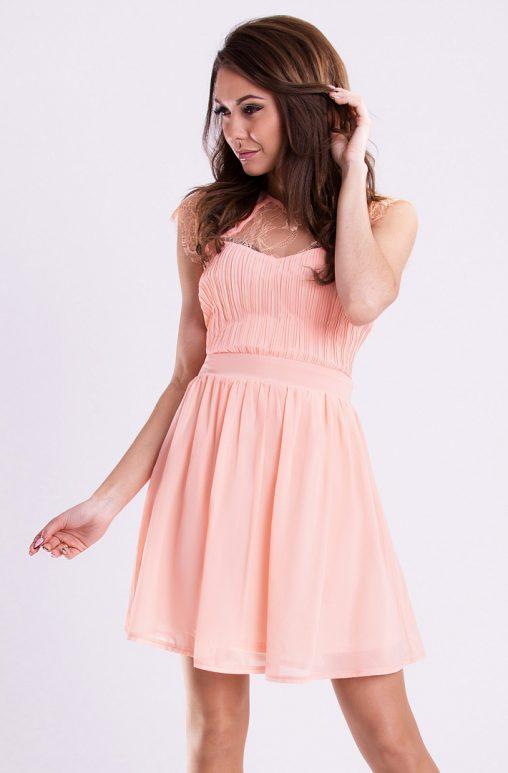 Wizytowa sukienka rozkloszowana brzoskwiniowa