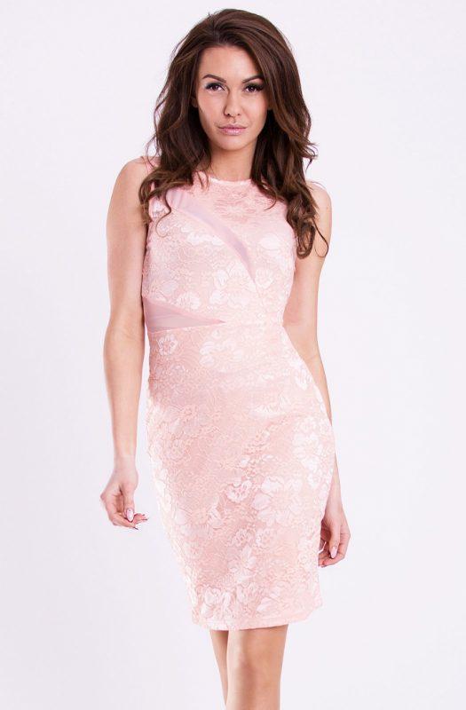 Klasyczna sukienka koronkowa brzoskwinia