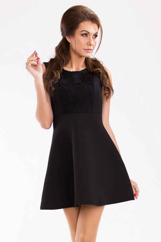 Rozkloszowana sukienka z pianki czarna