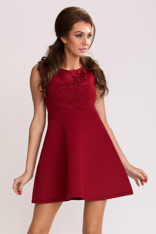 Rozkloszowana sukienka z pianki bordowa