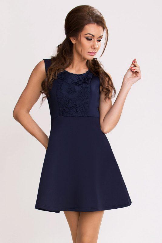 Rozkloszowana sukienka z pianki granatowa