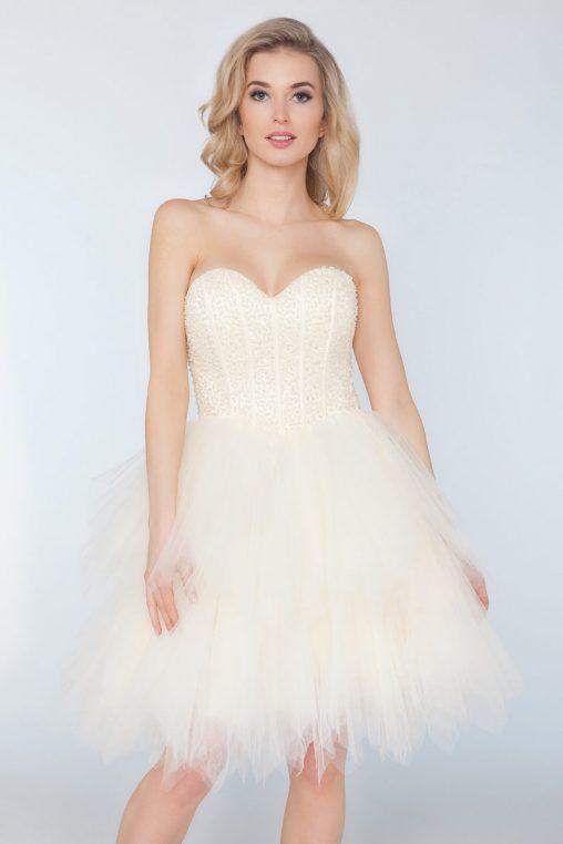 Wieczorowa gorsetowa sukienka z tiulu ecru