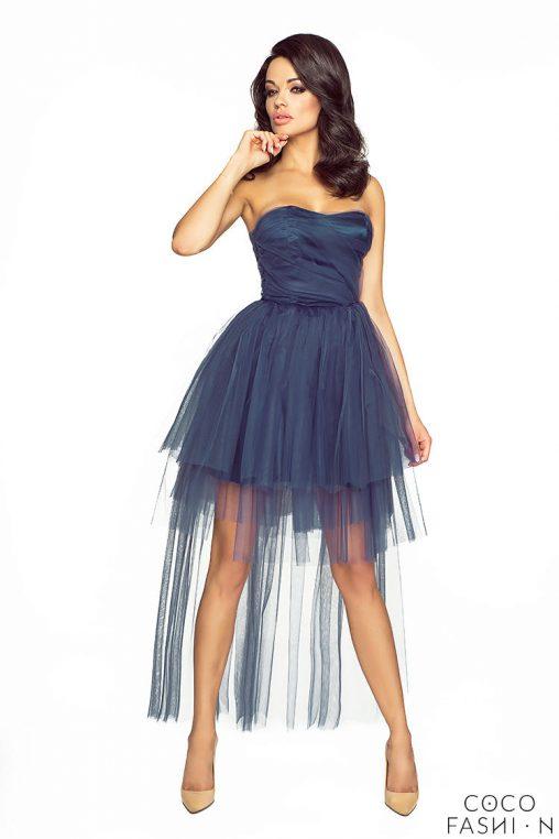 Granatowa Wieczorowa Sukienka Gorsetowa z Tiulem