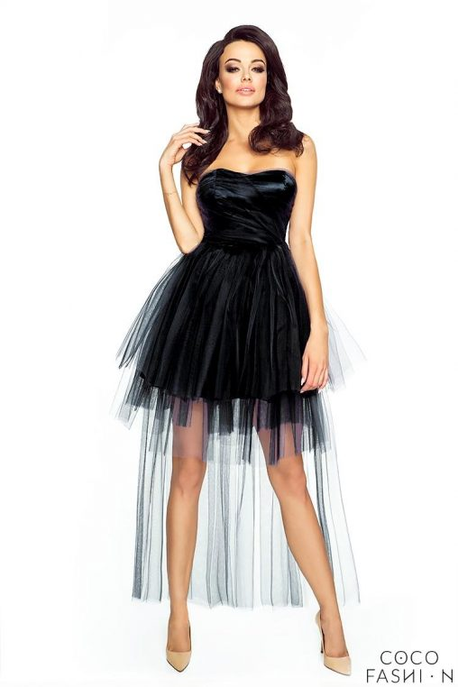 Czarna Wieczorowa Sukienka Gorsetowa z Tiulem