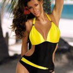 Jednoczęściowy strój kąpielowy czarno żółty
