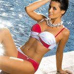 Dwuczęściowy kostium kąpielowy czerwono biały