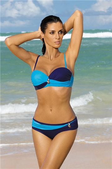 Dwuczęściowy kostium kąpielowy granatowo niebieski