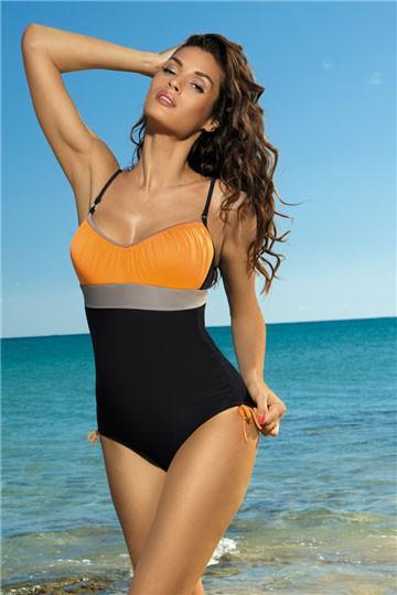 Jednoczęściowy kostium kąpielowy Czarno-pomarańczowy