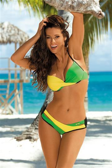 Dwuczęściowy strój kąpielowy zielony żółty