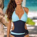 Jednoczęściowy strój kąpielowy niebieski