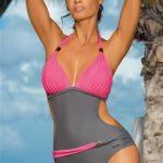 Jednoczęściowy strój kąpielowy różowo siwy