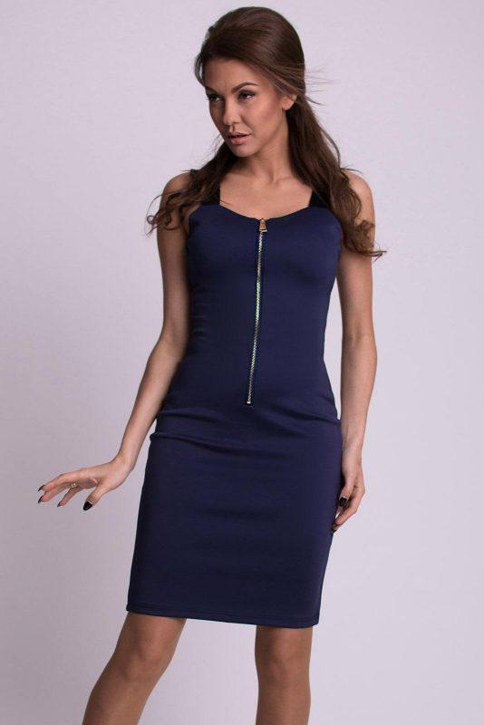 Granatowa sukienka na grubych szelkach